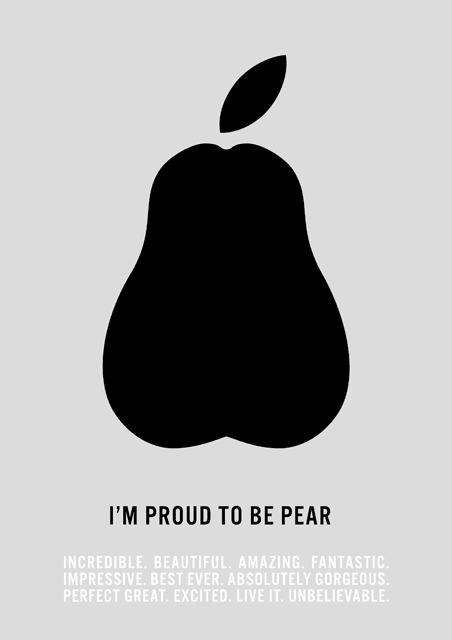 plakat, jabłko, gruszka, apple, pear, pride, Tim Cook, I'm proud, coming out, homopromo, LGBT, lobby, Incredible, Beautiful, Amazing, Fantastic, Best ever, Love it, Absolutely gorgeous, Perfect great, Excited, Impressive, Unbelievable